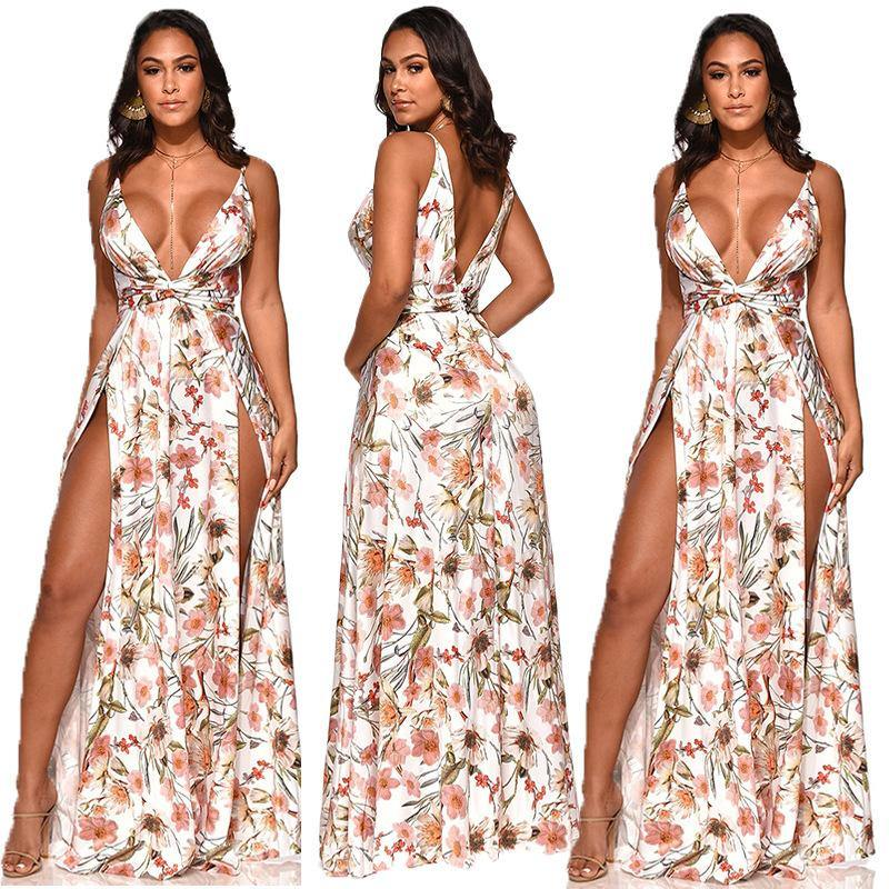 Womens Chic Sexy High Slit Floral Summer Dress - Loving Lane Co