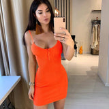 Simple and Sexy Orange Womens Mini Summer Dress