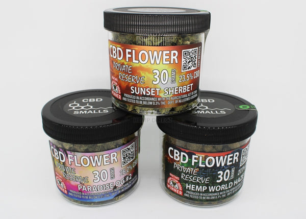 1 Oz Cbd Flower Small Buds (6 - 100 Quantity) 3 Strains Available