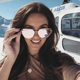 Pink mirror Sunglasses with metal frame - Trendy Womens
