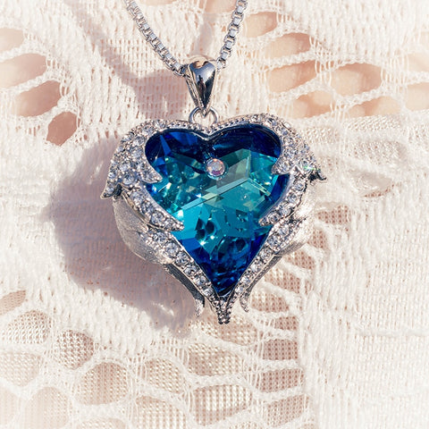 Swarovski Necklaces Zircon Fashion Jewelry | Blue Luxury Set Heart Statement