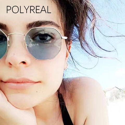 polygon Sunglasses Flat Lens Slender Metal Frame Women  Brand Glasses