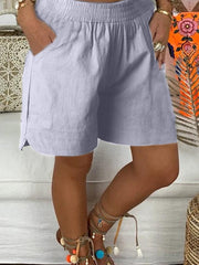 Women's Vintage Plus Size Women Plain Pockets Casual Shorts