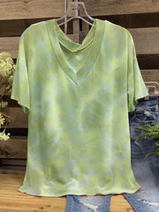 Women's Green Casual Short Sleeve V Neck Shirts & Tops
