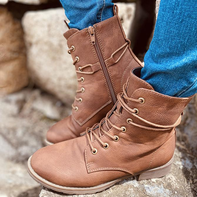 Woman's Block Heel Artificial Leather Lace-Up Boots