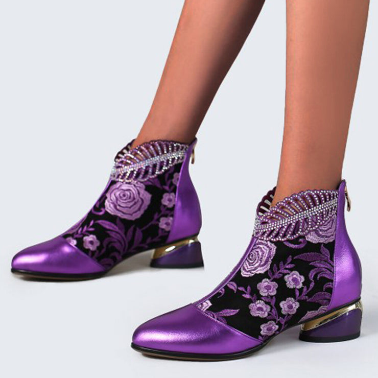 Women's Comfy Soft Leather Embroidered Flowers Rhinestone Summer Boots