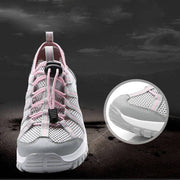 Women's Stylish Mesh Hit Color Lace Up Walking Shoes Air Cushion Sneakers