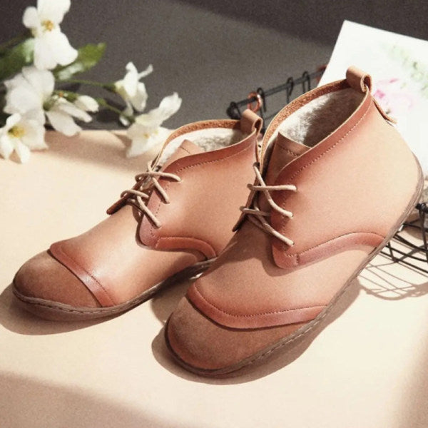 Women's Flat Round Toe Retro Lace-up Snow Boots