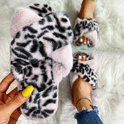Women Fashion Puffy Fur Leopard Mixed Colors Open Toe Open Toe Flat Slippers