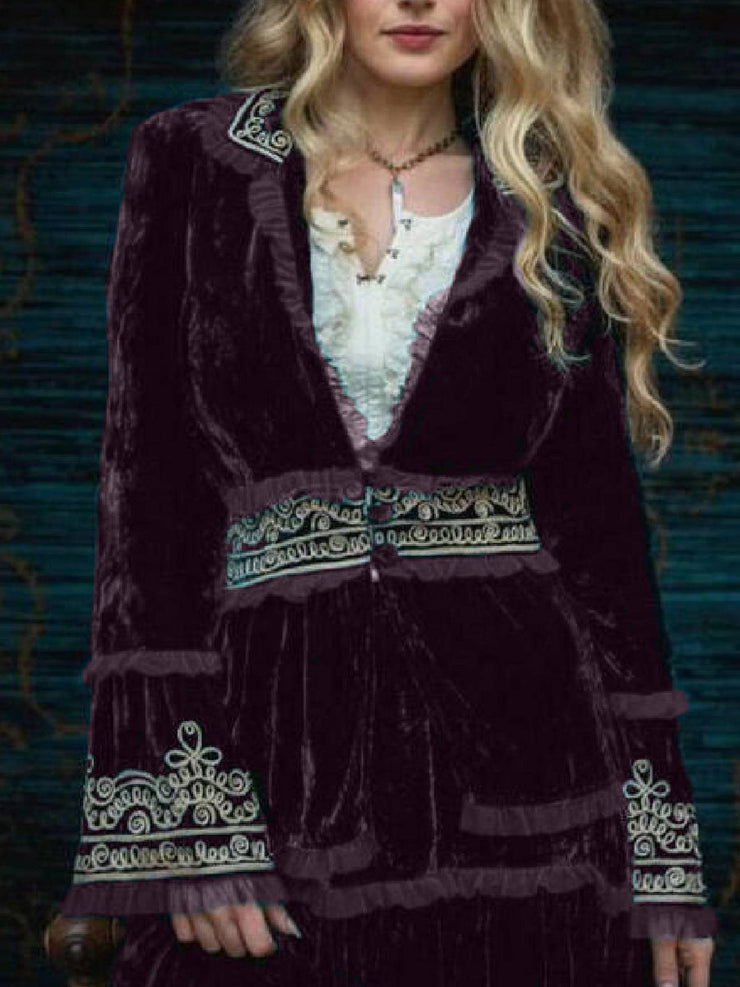 Women'S Velvet Print Casual Long-Sleeved Coat