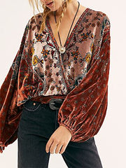 Women'S Round Neck Retro Velvet Loose Print Top