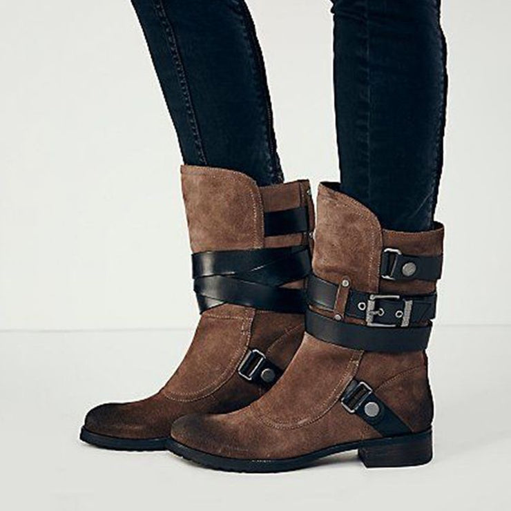 Women's Vintage Buckle Suede Plus Size Comfortable Boots