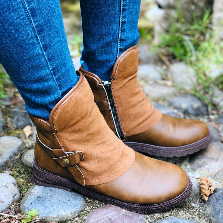 Women's Trendy Vintage Leather Ankle Boots Snow Boots