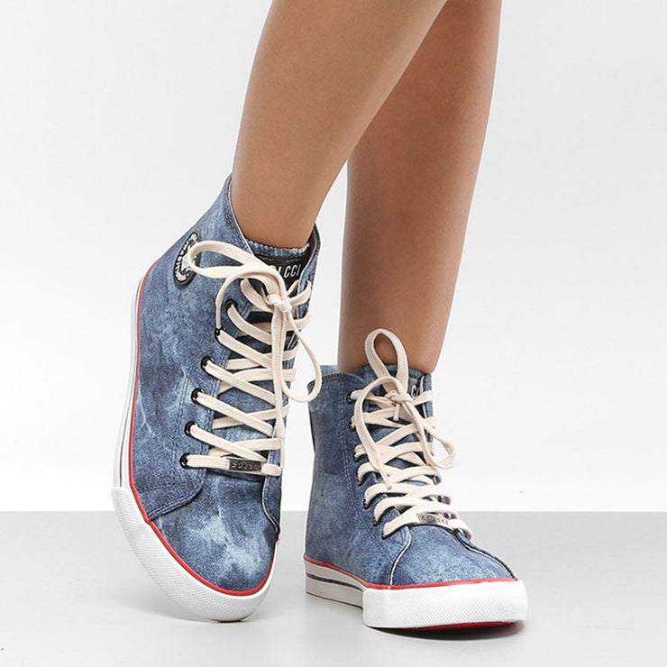 Women's Denim High-Top Lace-Up Canvas Sneaker Shoes