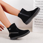 Women's Comfy Suede Zipper Flat Heel Boots With Inner Fur