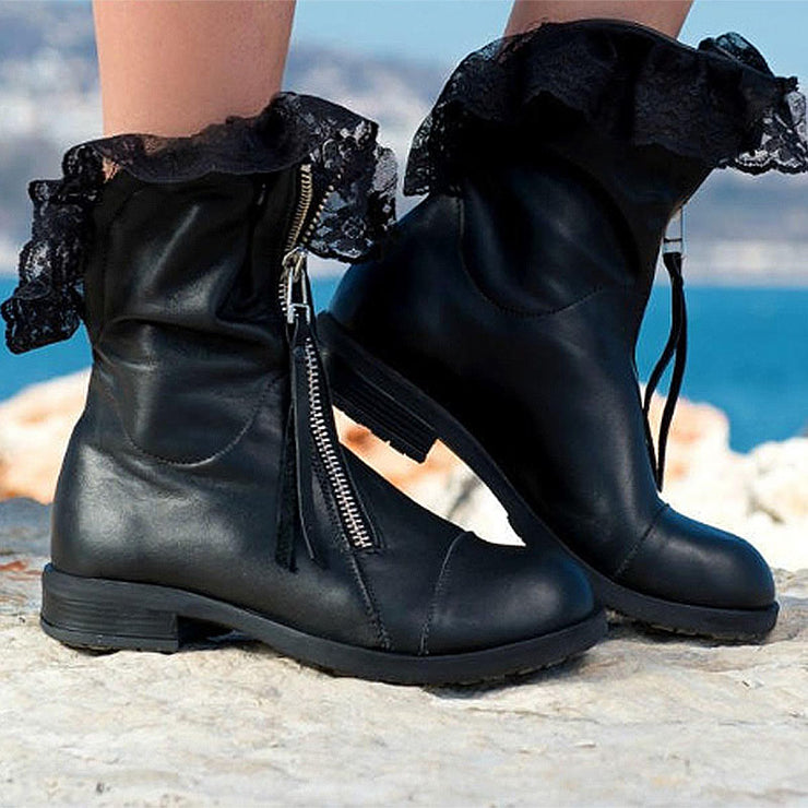 Women's Stylish Leather Zipper Ankle Boots With Lace decoration