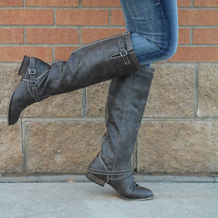 Women's Vintage Comfy Leather Riding Boots