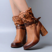 Women's Retro Chunky High Heels Hollow Boots