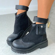 Women's Ankle Strap Buttoned Combat Boots