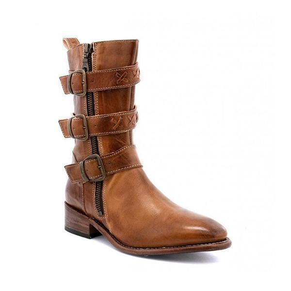 Women's Casual Daily Adjustable Buckle Low Heel Boots