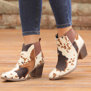 Women's Cow Printed Vintage Leather Boots