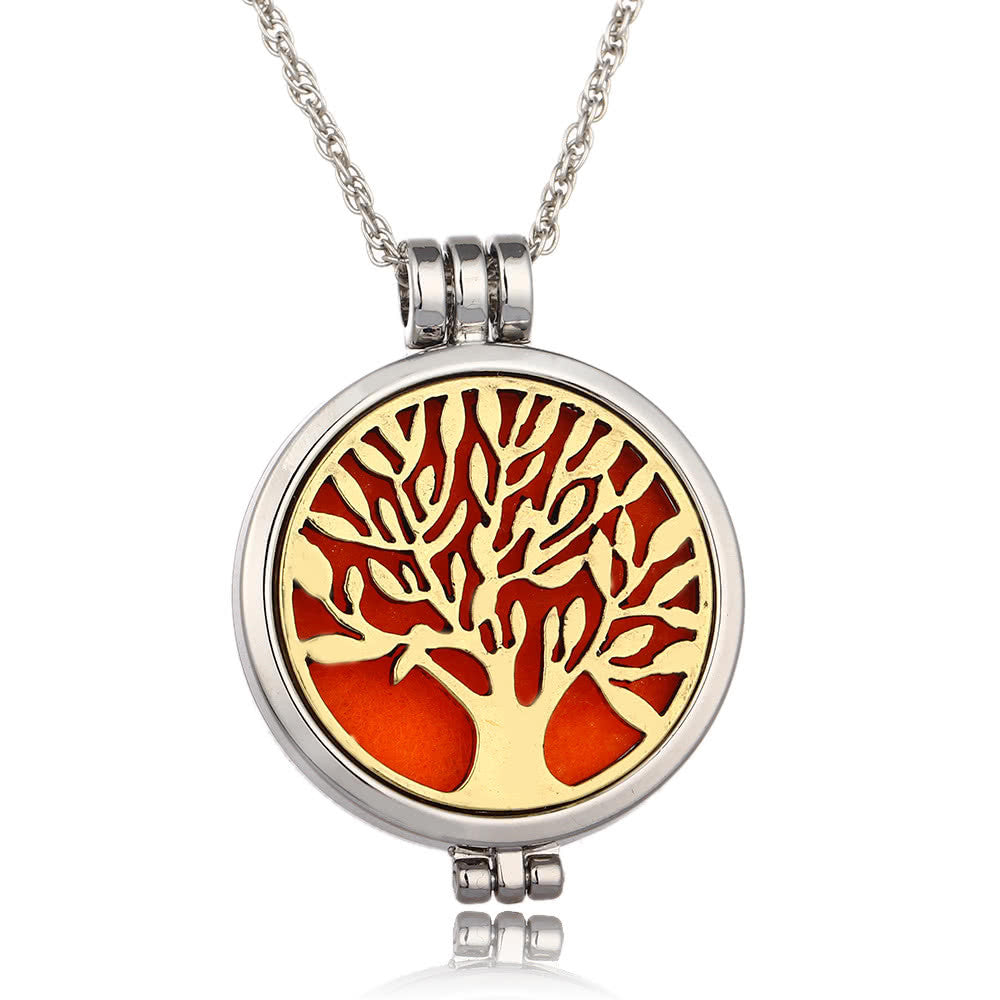 Delicate Jewelry Aromatherapy Necklace Tree of Life Pattern Locket Pendant Perfume Diffuser Necklace