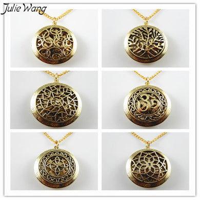 Julie Wang 6PCS Mix Sale Bronze Tone Vintage Copper Made High End Necklace Essential Oil Fragrance Diffuser Pendant Fine Jewelry