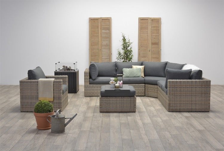 Milan Rattan- Corner Lounge- L Shape Set- With or Without Matching Chair- Natural