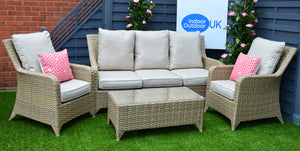 Sahara Rattan- 4 Seat Sofa Set- Cream