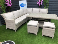 The Deluxe Truro 7pc Outdoor Rattan Corner Garden Dining Set