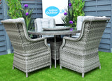 The Hatherton 4 Seater Outdoor Rattan Garden Dining Set With Glass Top
