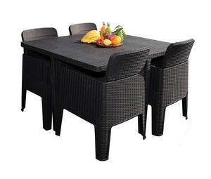 Denver Polypropylene- 4 Seater Deluxe Cube Set- Black