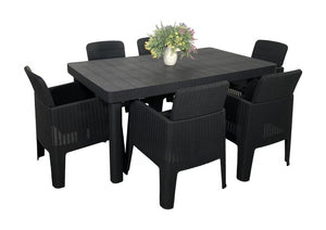 Denver Polypropylene-  6 Seater Deluxe Dining Set- Black