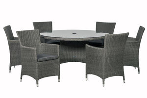 Mirage Rattan- 4 or 6 Seater Round Dining Set- Grey Or Cream