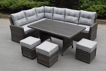 Load image into Gallery viewer, Antigua Rattan Dining Set- Glass or Polywood Top - Grey or Nature