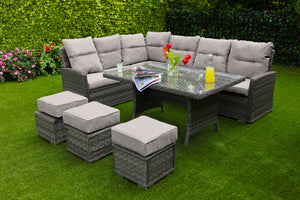 Antigua Rattan Dining Set- Glass or Polywood Top - Grey or Nature