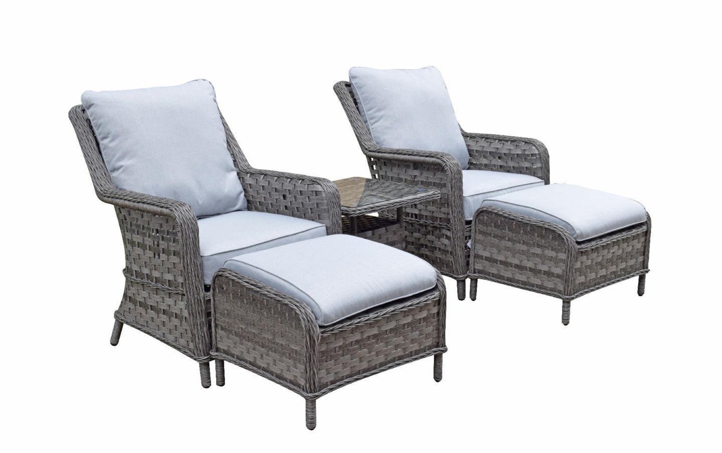 Hatherton Rattan- Two Seater Foot Stall Set- Grey