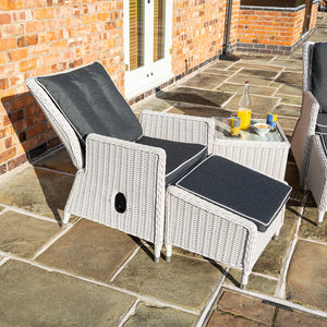Burley Rattan- Lounge Set- Reclining Chairs- Charcoal Grey