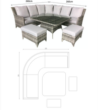 Load image into Gallery viewer, Sahara Rattan- Corner Dining- Sofa Set- Poly Wood Top- Grey