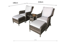 Load image into Gallery viewer, Hatherton Rattan- Two Seater Foot Stall Set- Grey