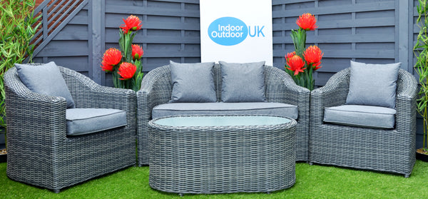 The Burley Outdoor Garden Two Seater Grey Rattan Sofa Set