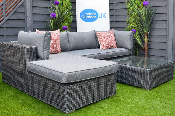 The Burley Outdoor Garden Lounging Grey Rattan Set