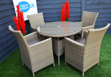Load image into Gallery viewer, Derby Rattan 4 Seater- Round Dining Set- Cream