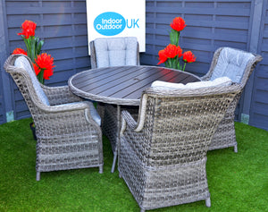 Hatherton Rattan- 4 or 6 Seater- Round Dining Set- Poly Wood Top- Grey or Natural