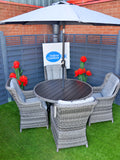 The Hatherton 4 Seater Outdoor Rattan Garden Dining Set With Polywood Top