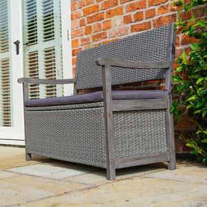 Burley Rattan Storage Bench- In Grey
