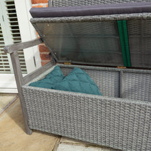 Load image into Gallery viewer, Burley Rattan Storage Bench- In Grey