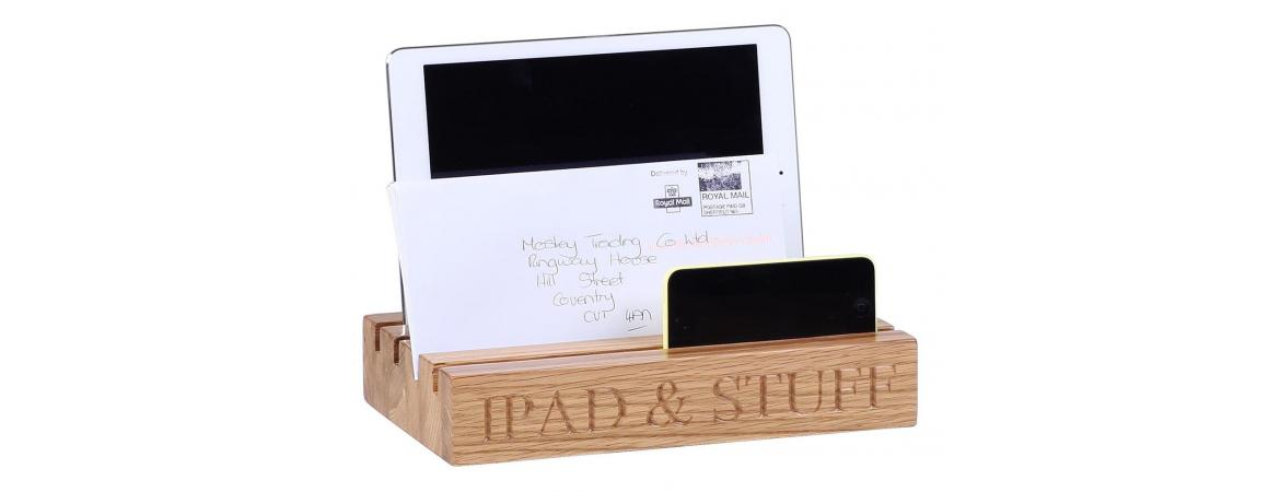 Ipad / Letters Holder with 'IPAD & STUFF' Engraved