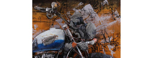 Blue Triumph Motorbike wall art