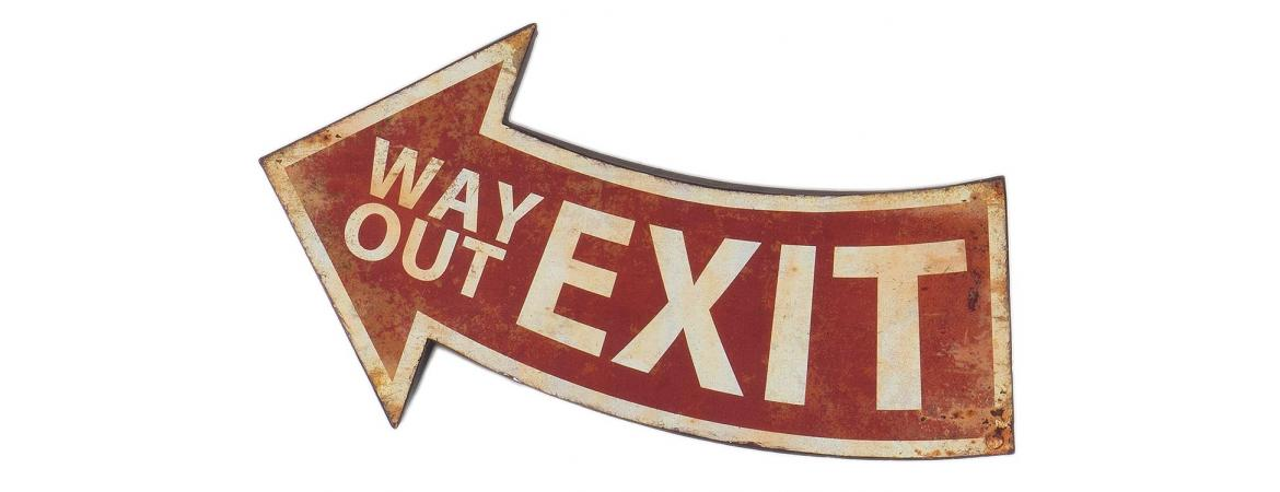 Red and Cream Way Out Exit Sign